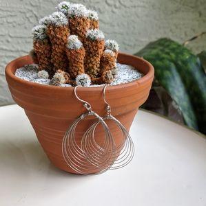 Vintage Sterling Silver Wire Earrings 90's Jewelry